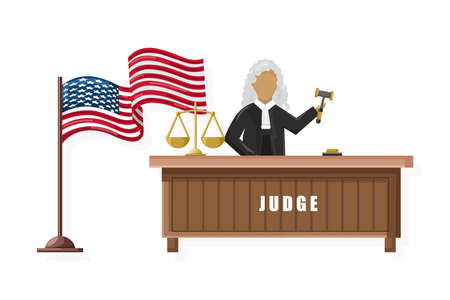 Judge  flat style. American flag justice brochure concepts