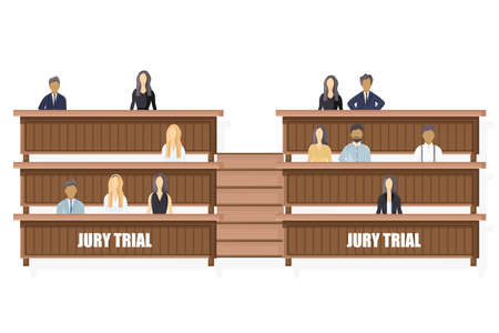 Jury trial Vector flat style. Law order brochure templates.