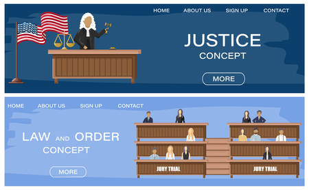Justice and jury trial  flat style. Law order brochure templates