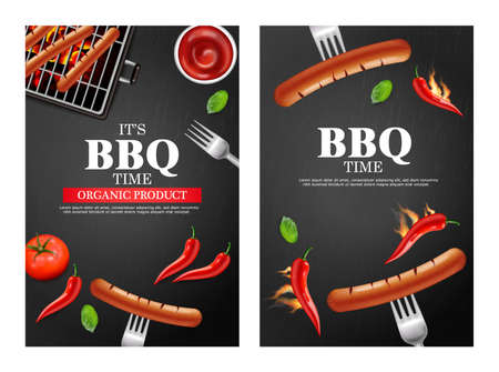 Bbq grill party banners set