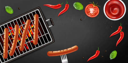 Bbq grill hot dog Vector realistic. Banner tasty menu brochure template hot sausages. 3d illustration food