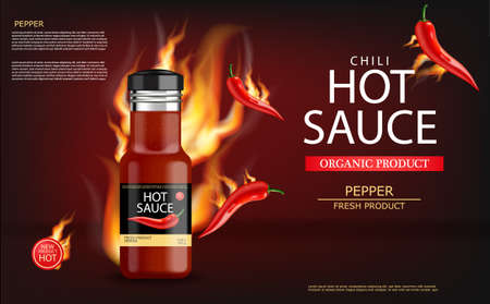 Hot chili sauce on fire vector realistic. Product placement mock up bottle. Label design advertise 3d illustration Vettoriali
