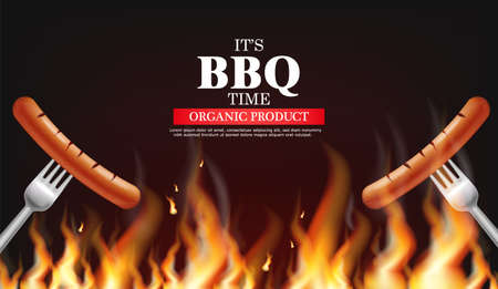 Bbq sausage fire Vector realistic. Vertical menu brochure template hot grill