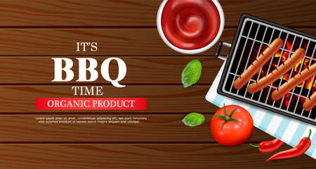 Bbq grill party Vector realistic. Vertical menu brochure template hot sausages. Stock Illustratie