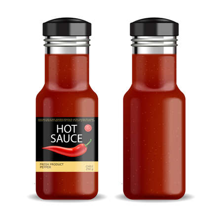 Hot chilli sauce vector isolated realistic. Product placement mock up bottle. Label design advertise 3d illustration Illustration