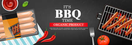 Bbq grill hot dog Vector realistic. Banner tasty menu brochure template hot sausages.