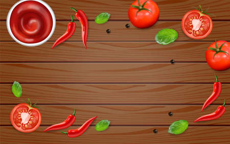 Chili and tomato on wood table Vector realistic. Hot sauce ingredients layout template. Menu brochure advertise poster