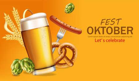 Beer mugs banner October fest Vector realistic. Fresh sparkling beer with pretzel. 3d detailed illustration template