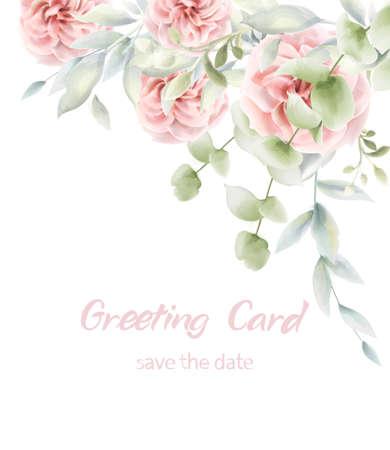 Scheda floreale delle rose rosa Acquerello di vettore. Manifesto rustico provenzale. Invito di compleanno, decorazioni di auguri per eventi di cerimonia