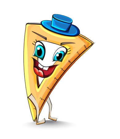 Ruler triangle funny character smiling Vector. School supplies item illustration watercolor styles Ilustração