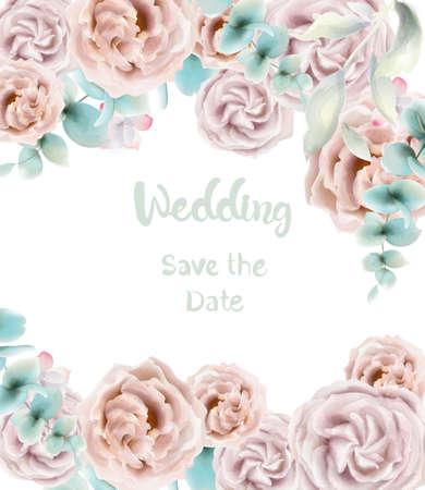 Rose flower card Vector watercolor. Vintage retro style wedding invitation or greetings 向量圖像