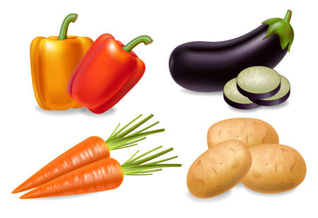 Carrot, pepper and aubergine set Vector realistic 3d detailed illustrations