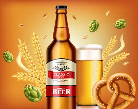 Beer bottle and fresh pretzel Vector realistic. Fresh drink product placement. Label design. 3d illustrations