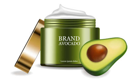 Avocado cream vector realistic. Product placement package. 3d illustrations