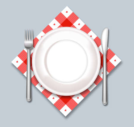 White plate vector realistic. Dinner ready concept template 向量圖像