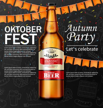 October fest poster Vector realistic. Beer, pretzel, grill sausage food. 3d illustrations