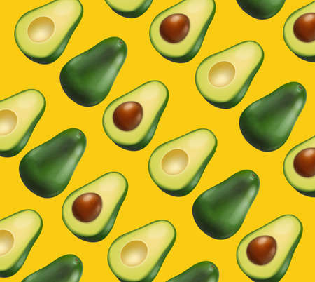Avocado pattern vector realistic. Yellow bright background. 3d illustrations