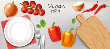 Vegetarian dinner table Vector realistic. White plate healthy food template Stockfoto - 129113788