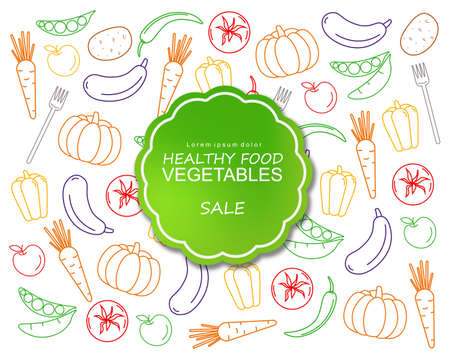 Healthy vegetables poster line art colorful Vector. Green label banner menu template