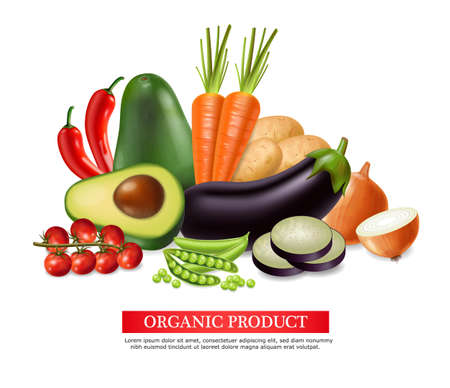 Vegetables banner Vector realistic. Avocado, eggplant, carrots and tomatoes detailed 3d illustration