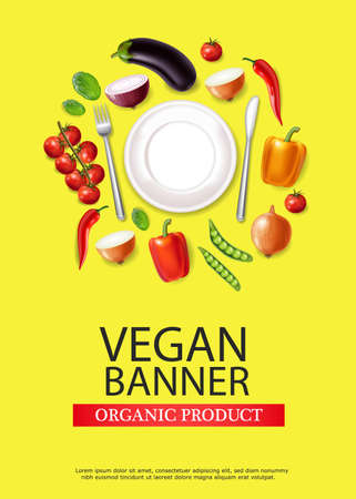 Vegan plate banner Vector realistic. Eggplant, pepper and tomatoes detailed 3d illustration