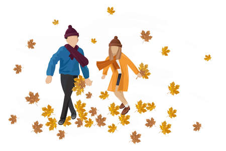 Kids playing outdoors autumn Vector. Happy fall lifestyle illustration