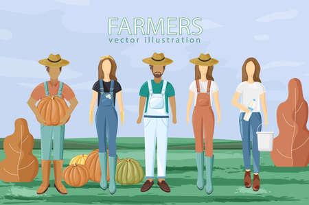 Farmers set  flat style. Autumn fall season agriculture brochure templates