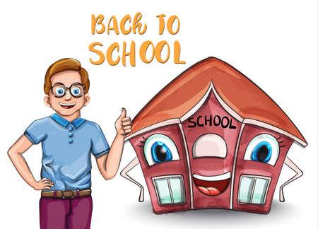 Happy Kid and cartoon house back to school Stock Illustratie