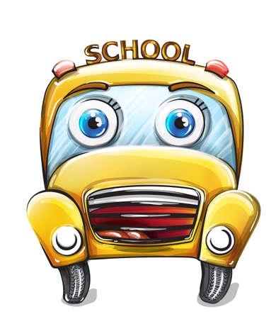 School bus funny cartoon Stock Illustratie