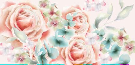 Rose flower card  watercolor. Vintage retro style wedding invitation or greetings Stock Illustratie