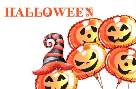 Halloween pumpkin happy faces  watercolor Stock Illustratie