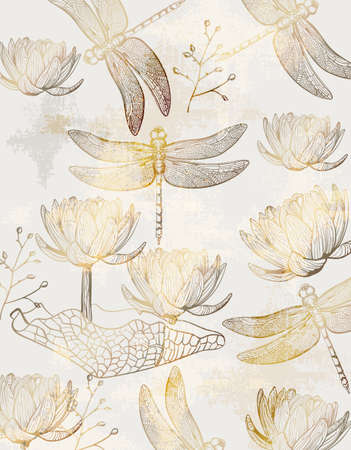 Lotus and dragonfly pattern  line art.