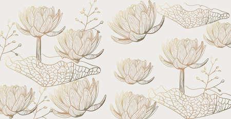 Lotus pattern  line art. Golden texture shiny floral decors Stock Illustratie