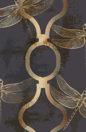 Dragonfly golden pattern  line art. Abstract texture shiny ornament decors