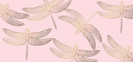 Dragonfly golden pattern  line art. Stock Illustratie