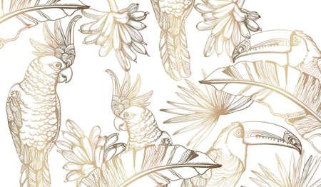 Parrot golden card  line art. Exotic palm leaves decors Stock Illustratie