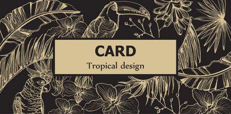 Tropic parrot card  line art .