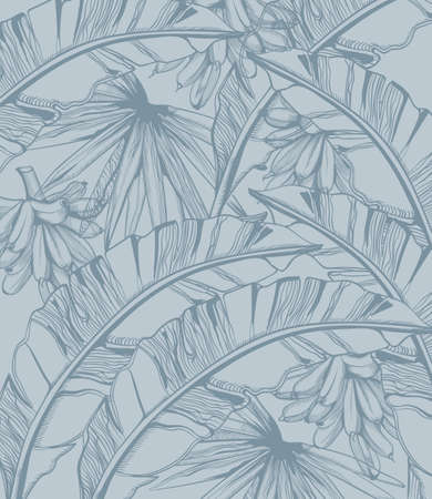 Palm leaves and bananas pattern tropic  line art. Stock Illustratie