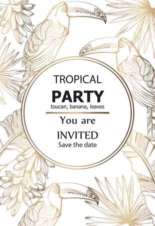 Parrot golden card  line art. Exotic palm leaves decor. Stock Illustratie