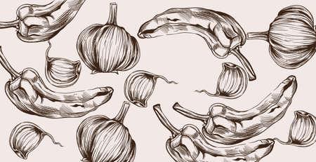 Autumn veggies pattern  line art. Illustration