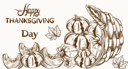 Happy Thanksgiving card pumpkin line art
