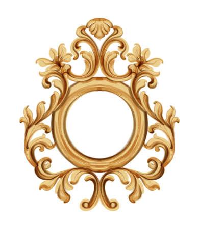 Baroque luxury golden frame Stock Illustratie