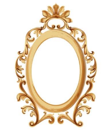 Baroque luxury golden frame Illustration