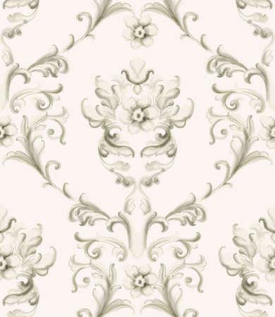 Baroque ornament Vector. Luxury watercolor trendy texture. Vintage retro old style 向量圖像