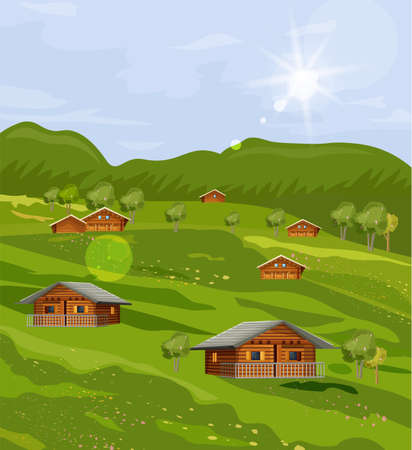 Rustic houses countryside summer green fields Vector flat style