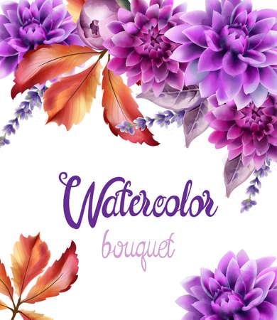 Wild forest flowers bouquet card Illustration