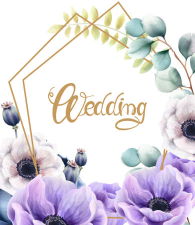 Watercolor flowers and leaves wedding greeting card Illustration