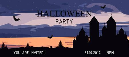 Halloween party banner with castle, bats, forest and clouds