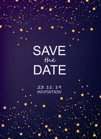 Invitation card with stars and sparkles vector. Save the date. Magic cosmic theme