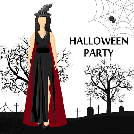 Halloween party site banner with woman wearing witch hat